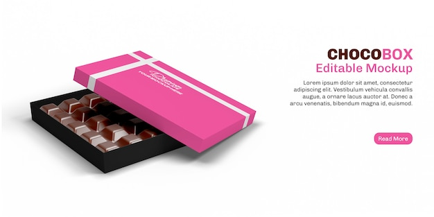 Chocolate box mockup on banner