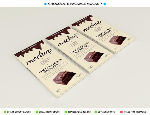 Chocolate box mockup for product package