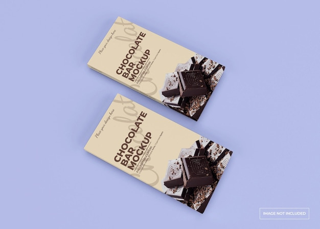 Chocolate box packaging mockup design isolated