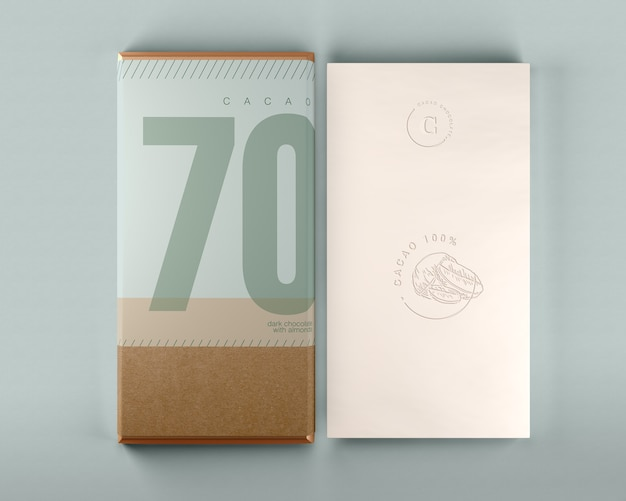 Chocolate box and wrapping design mock-up