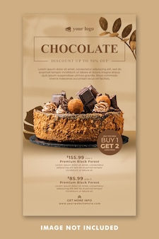 Chocolate cake social media instagram stories template for restaurant promotion