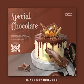 Chocolate cake social media post banner template Premium Psd