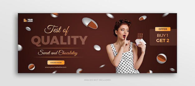 Chocolate candy menu facebook timeline cover or social media web banner template