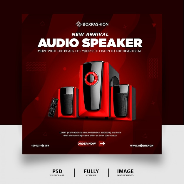 Chocolate color audio speaker brand product social media post banner