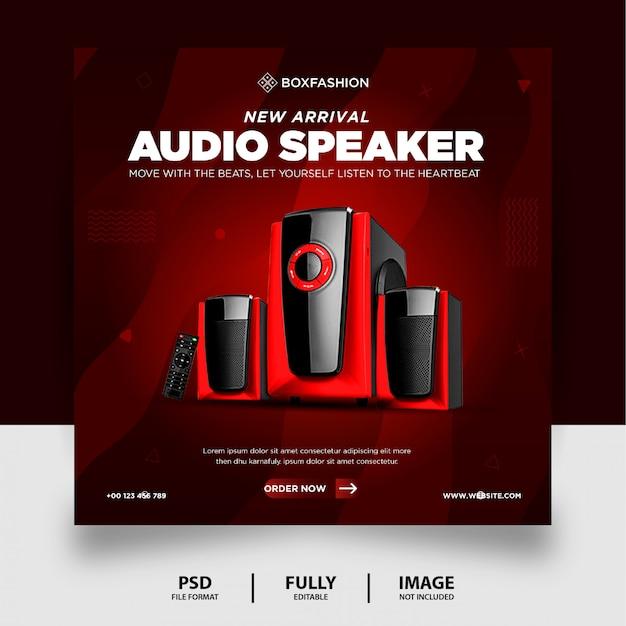 Chocolate color audio speaker brand product social media post banner Premium Psd