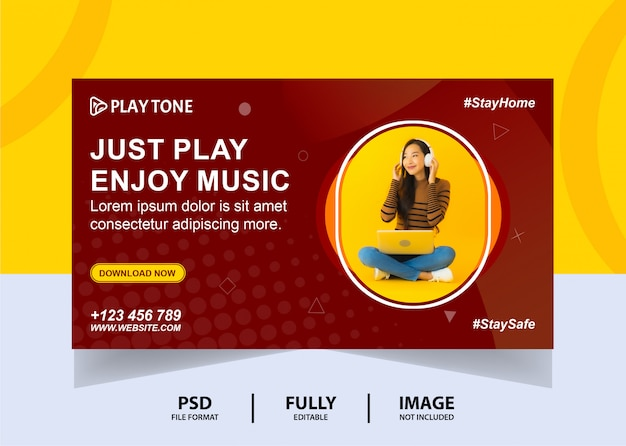 Chocolate color enjoy music web banner design