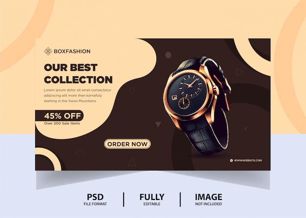 Chocolate color watch brand product web banner design