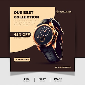 Chocolate color watch product social media post banner Premium Psd