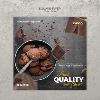 Volantino quadrato concetto di cioccolato
