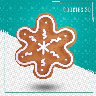 分離されたクリスマスのチョコレートクッキー3d