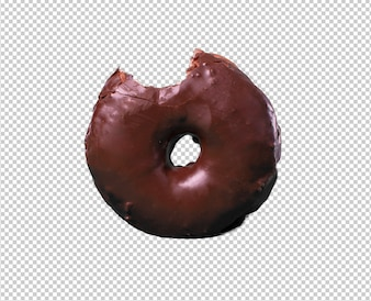 Chocolate donut isolated against white background