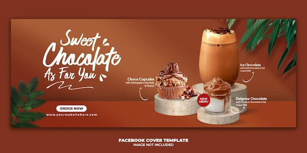 Chocolate drink menu facebook cover banner template for restaurant promotion
