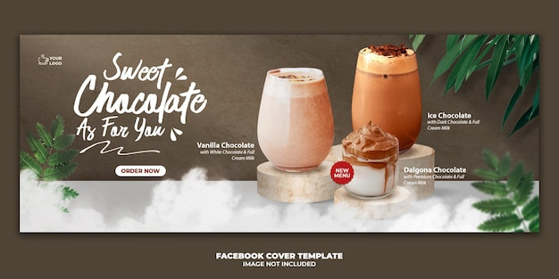 Chocolate drink menu facebook cover banner template for restaurant promotion Premium Psd