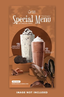 Chocolate drink menu social media instagram stories template for restaurant promotion Premium Psd