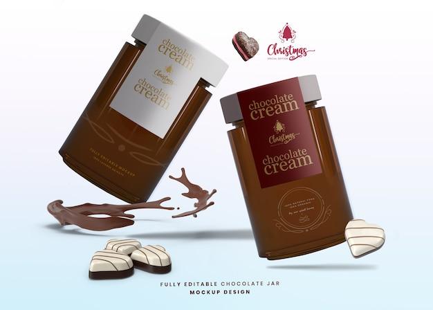 Макет стеклянной банки для шоколада для специального выпуска на рождество