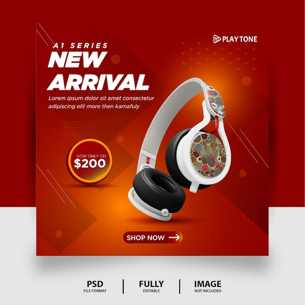 Chocolate gradient color headphone brand product social media instagram banner