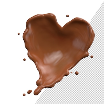 Chocolate heart milk valentine splash 3d realistic rendering