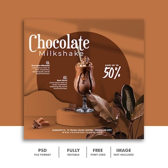 Chocolate milkshake drink menu social media instagram post banner template Premium Psd