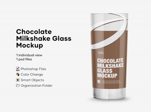 Chocolate milkshake glass mockup