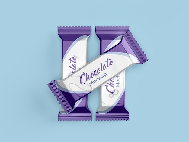 Chocolate packaging mockup design isolated