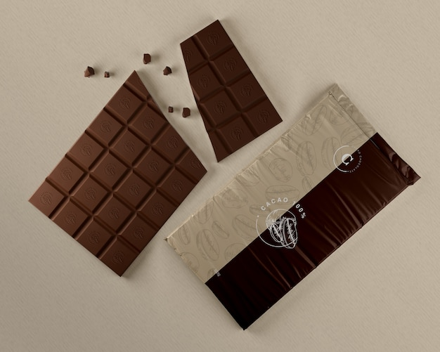 Chocolate plastic packaging mock-up