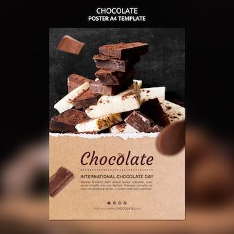 Шаблон плаката шоколадного магазина