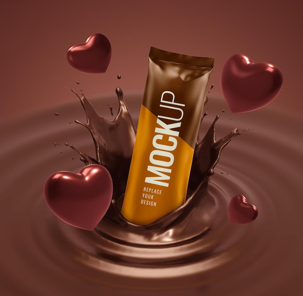 Chocolate snack pouch mockup with heart valentine advertising