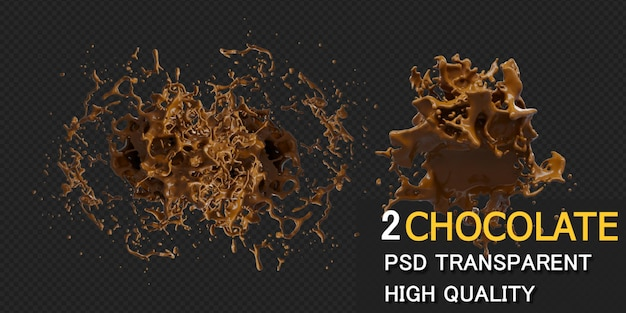 Chocolate splash in various styles isolated