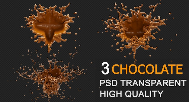 Chocolate splash with droplets 3d rendering design