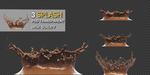 Chocolate splash with droplets 3d rendering