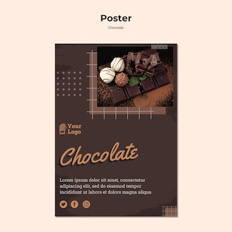 Chocolate store poster template