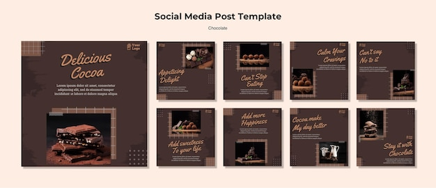 Chocolate store social media post template