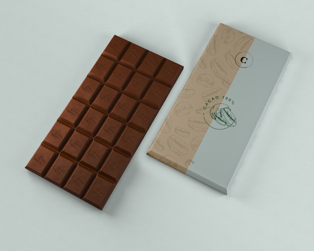 Chocolate tablet packaging mock-up