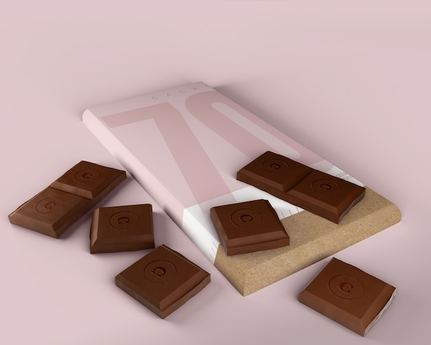 Chocolate tablet in paper wrapping mock-up