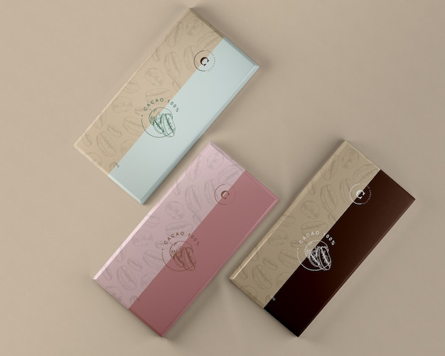 Chocolate tablets paper packaging mock-up