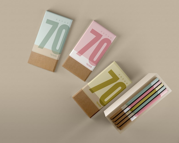 Chocolate wrapping paper and box mock-up
