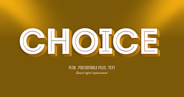 Choice 3d text style effect