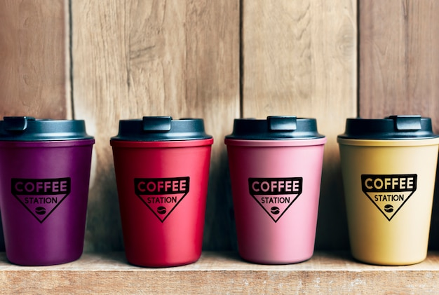 Choice of reusable coffee mug mockups