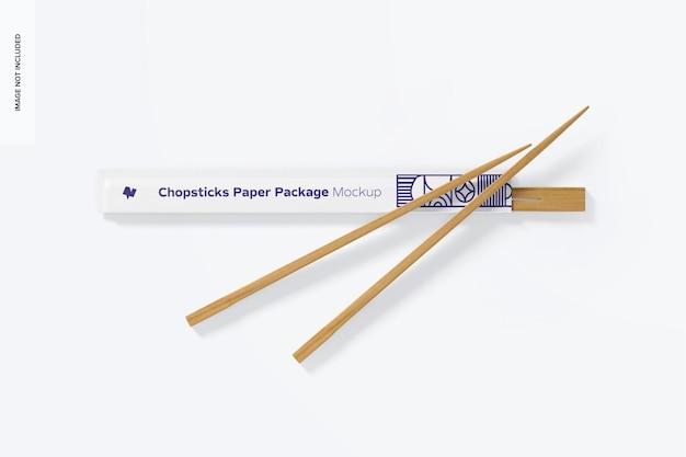 Мокап бумажного пакета палочек для еды