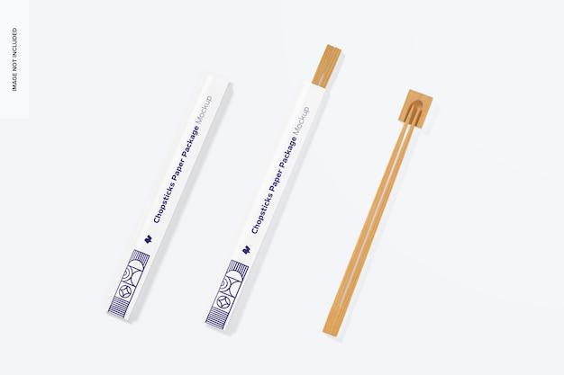 Мокап бумажных пакетов палочки для еды, открытые и закрытые