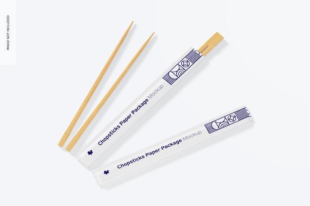 Мокап бумажных пакетов палочек для еды