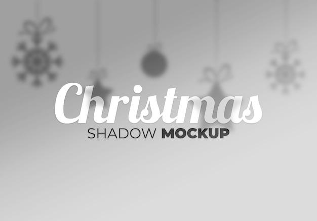 Christams shadow mockup background with ball and snowfall