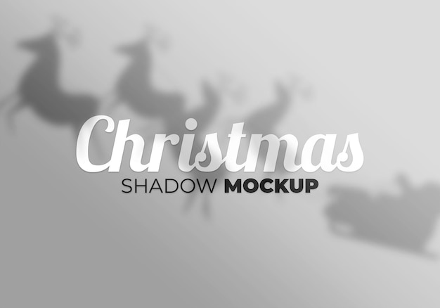 Christams shadow mockup on a white wall