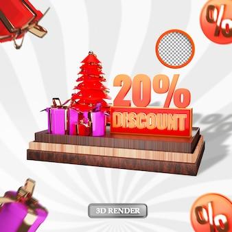 크리스마스 20% 판매 할인 레이블 3d 렌더링된 그림