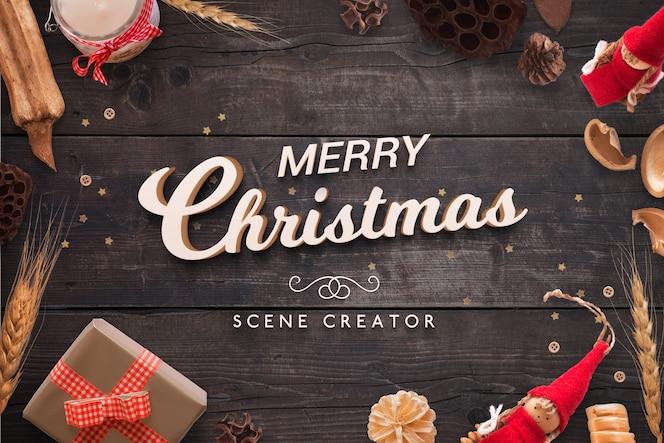 크리스마스 3D 인사말 텍스트 장면 작성자