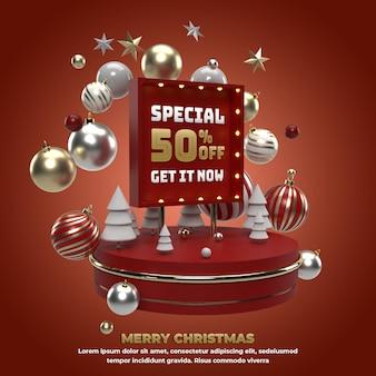 Рождество 3d square баннер праздничное мероприятие для продвижения и празднования в социальных сетях иллюстрация