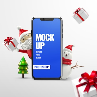 Christmas advertising phone mockup isolated