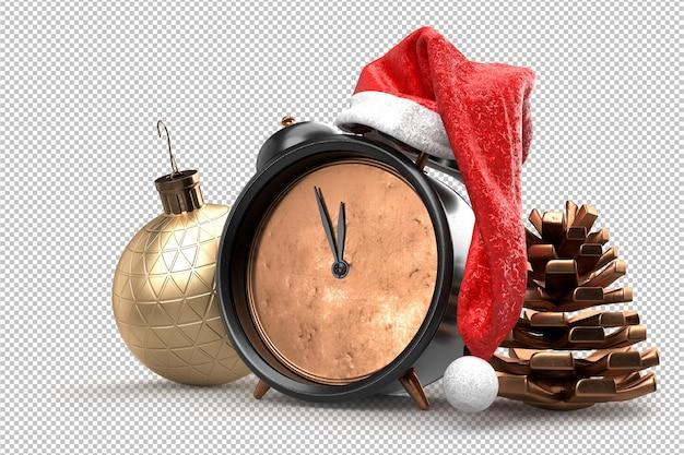 소나무 콘 및 장식 공 산타 클로스의 모자에 크리스마스 알람 시계. 3d 렌더링