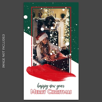 소셜 미디어를위한 크리스마스와 새해 복 많이 받으세요 2019 photo mockup and instagram story template