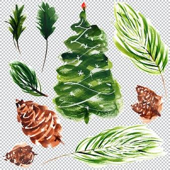 クリスマスと新年の植物の水彩要素、レイヤードイラスト
